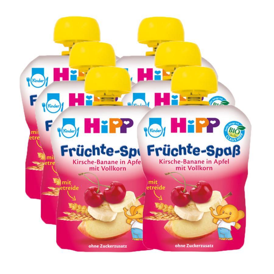 HIPP Bio Früchte-Spaß Kirsche-Banane in Apfel mit Vollkorn 6 x 90g