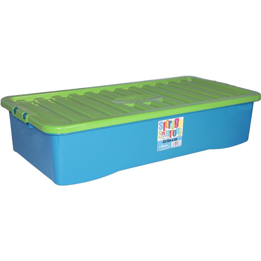 WHAM Unterbettbox mit Deckel 42L Blueberry/Lime