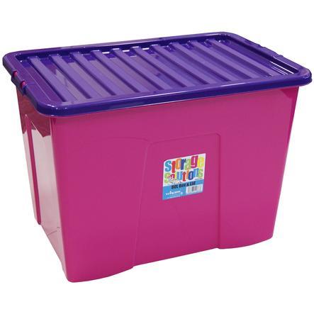 WHAM Förvaringslåda med hjul 80L, Pink/Purple