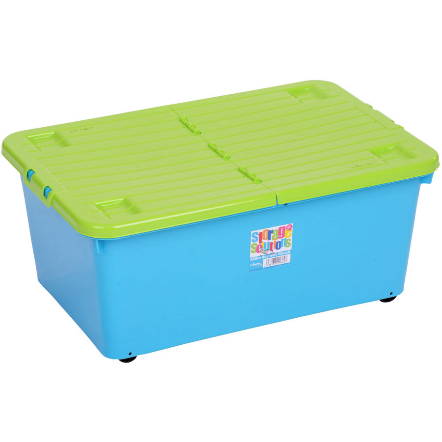 WHAM Rollbox 45L mit Klappdeckel, Blueberry/Lime