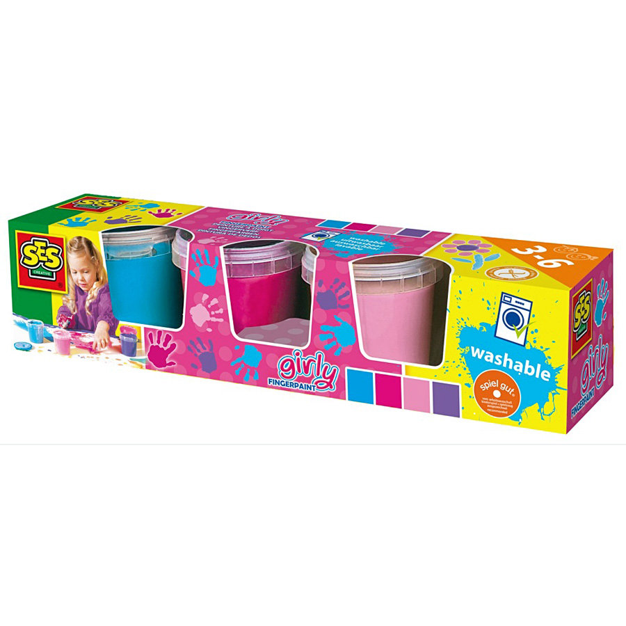 SES Creative Vingerverf Girly, 4 kleuren