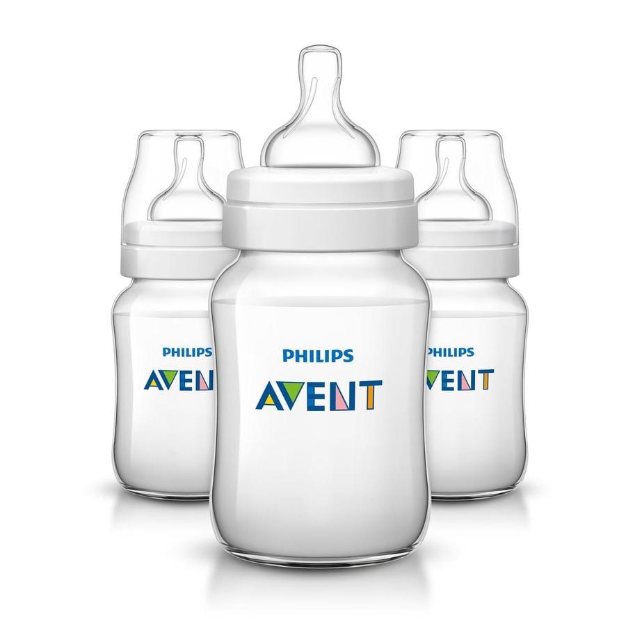 Philips AVENT Lot de 3 Biberons anti-coliques Classic, 260 ml SCF563/37