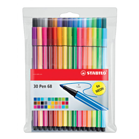 STABILO Pen 68 24+6 neon Etui - Filzstift