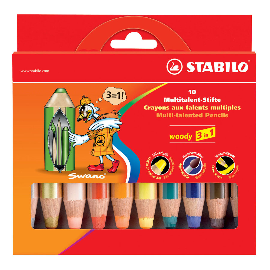 STABILO woody 3 in 1, 10-pack färgpennor