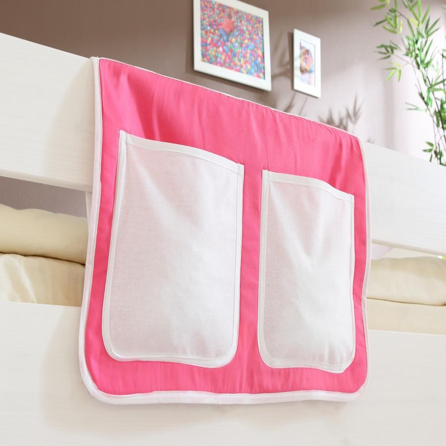 TICAA Poche de lit pour lits surélevés et superposés, rose-blanc