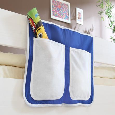 TICAA Poche de lit pour lits surélevés et superposés, bleu-blanc