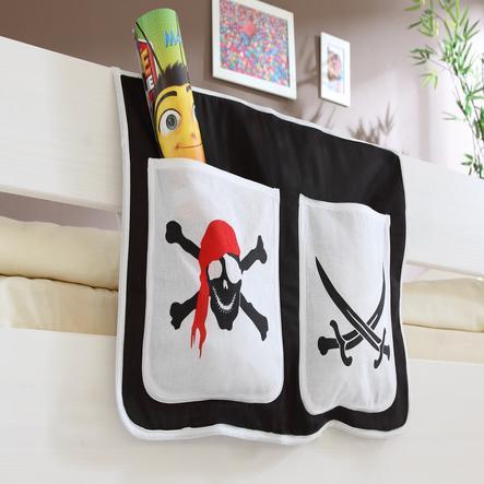 TiCAA Bett-Tasche für Hoch- und Etagenbetten Pirat Schwarz- Weiß