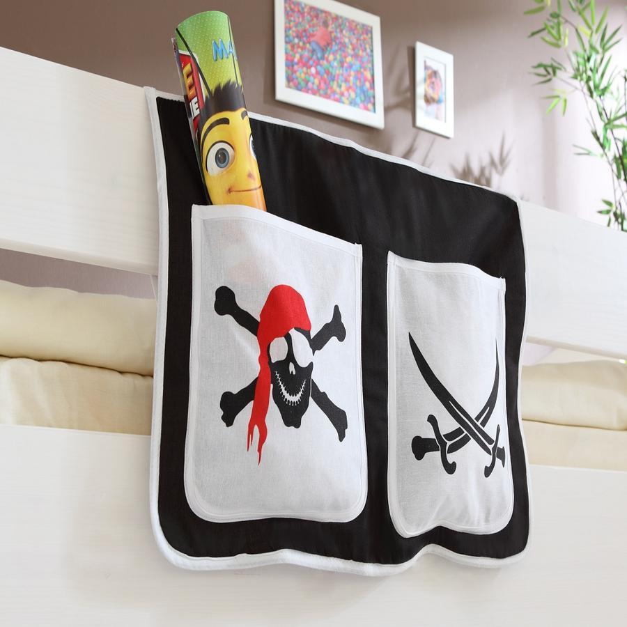 TICAA Tasche porta oggetti per letto a rialzo e a castello - Pirati - Nero/Bianco