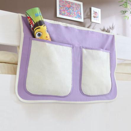 TiCAA Bett-Tasche für Hoch- und Etagenbetten Lila Weiß