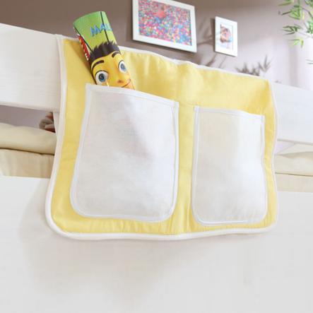 TICAA Tasca porta oggetti per letto rialzato o letto a castello- Giallo-Bianco