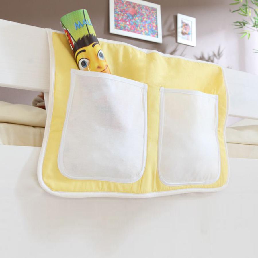 TiCAA Bett-Tasche für Hoch- und Etagenbetten gelb-weiß