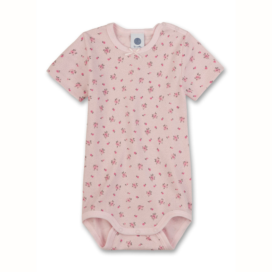SANETTA Baby Body 1/4 Arm FLOWERS rosa