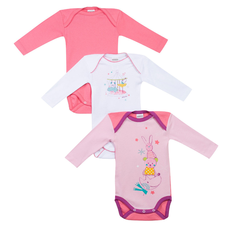 ABSORBA Girls Baby Bodies 1/1 Arm 3-er Pack