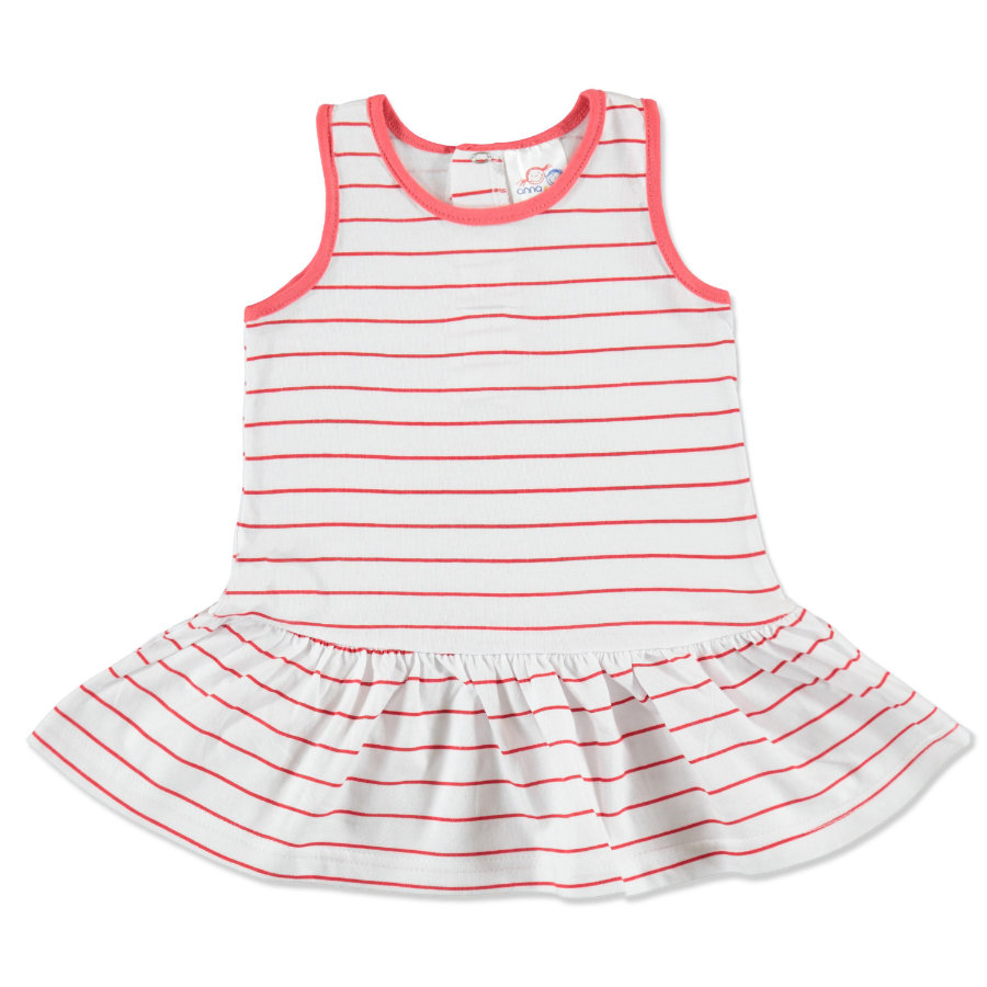 anna & tom Mini Girls Kleid gestreift weiß, rosa