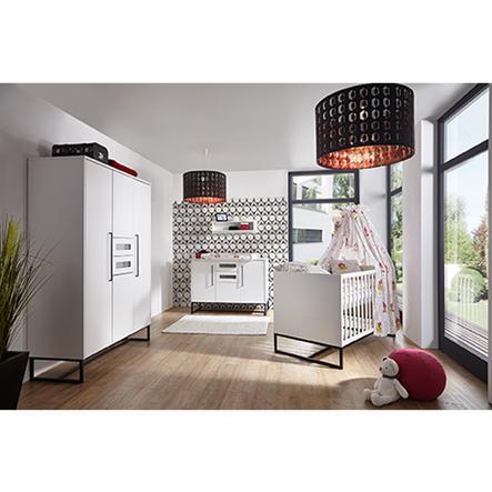 SCHARDT Set pour chambre d'enfant COSMO avec armoire 4 portes, lit, côtés transformables, commode à langer avec table à langer, blanc/noir