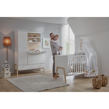 SCHARDT Set pour chambre d'enfant Holly Nature avec lit évolutif, commode à langer et armoire couleurs bois, blanc