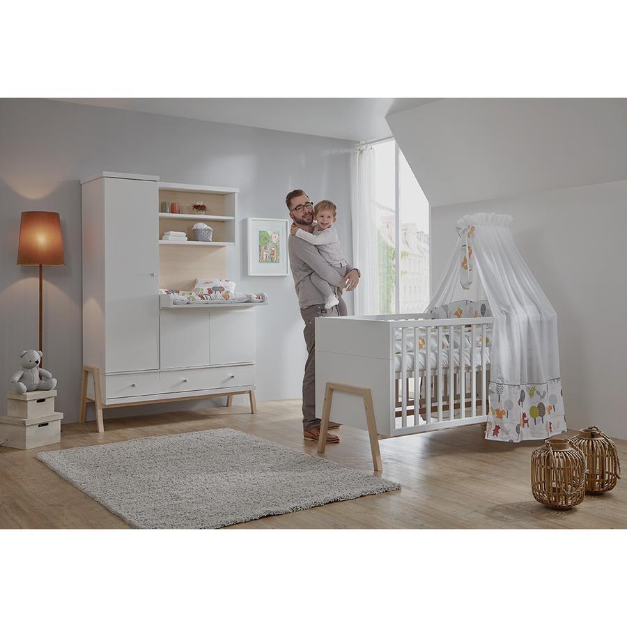 Schardt Lit enfant et armoire avec plan à langer Holly Nature, blanc