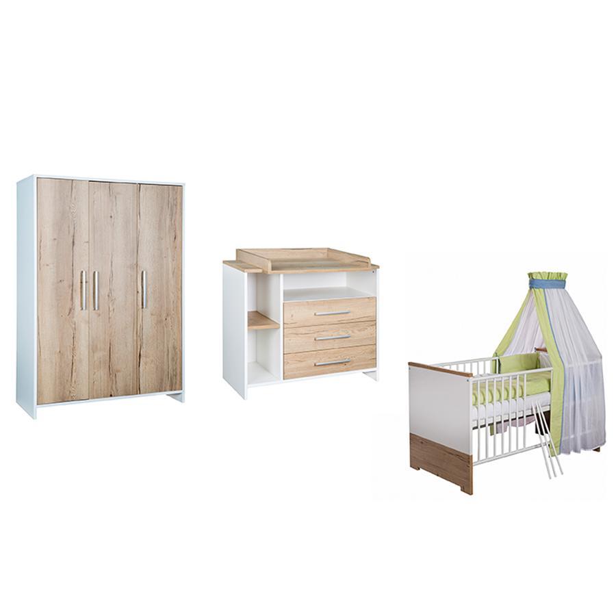 SCHARDT Set cameretta neonato ECO PLUS legno naturale / bianco (3 ante)