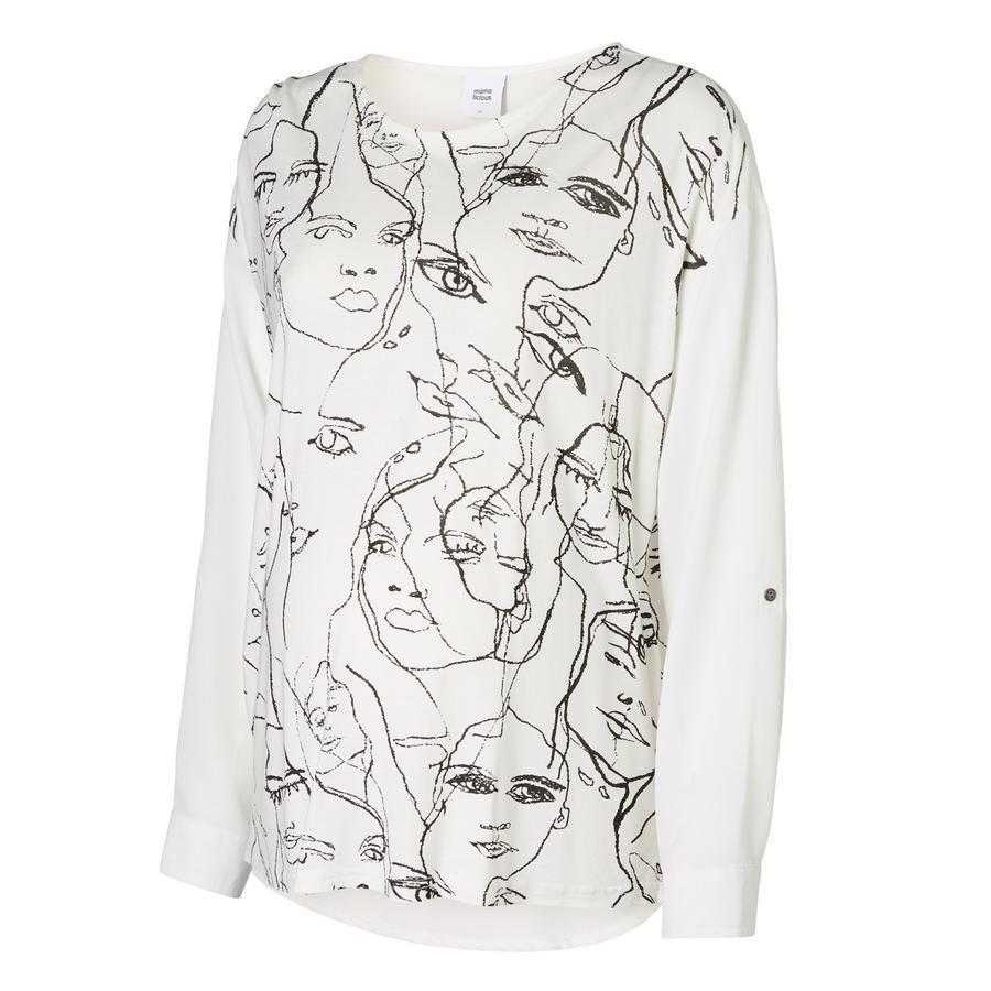 MAMA LICIOUS Bluzka z długim rękawem FACE MIX TOP snow White