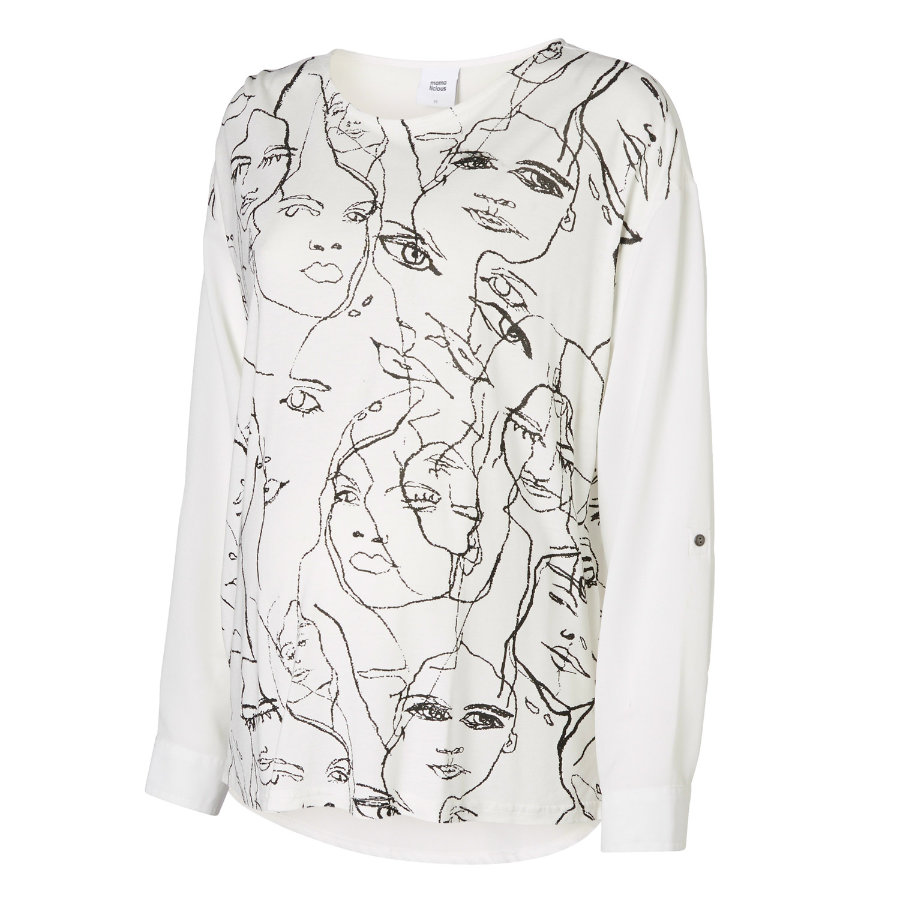 MAMA LICIOUS Umstands Bluse MLFACE MIX TOP snow White