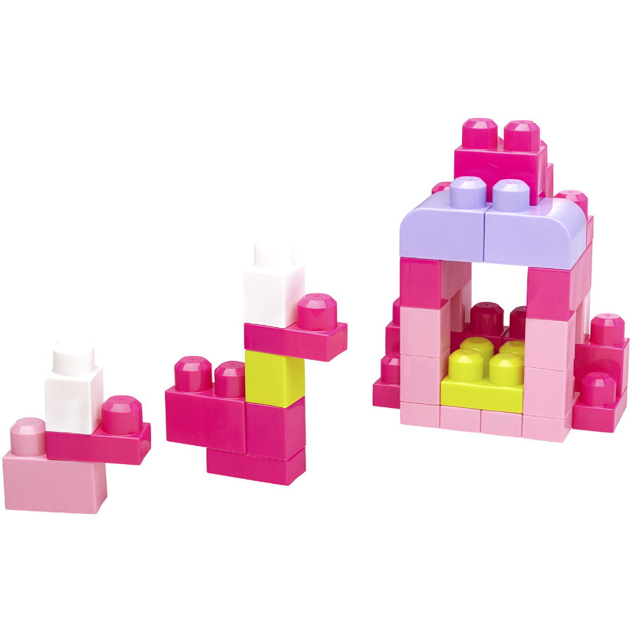 MATTEL Mega Bloks First Builders bouwstenen medium 60 stuks, roze DCH54