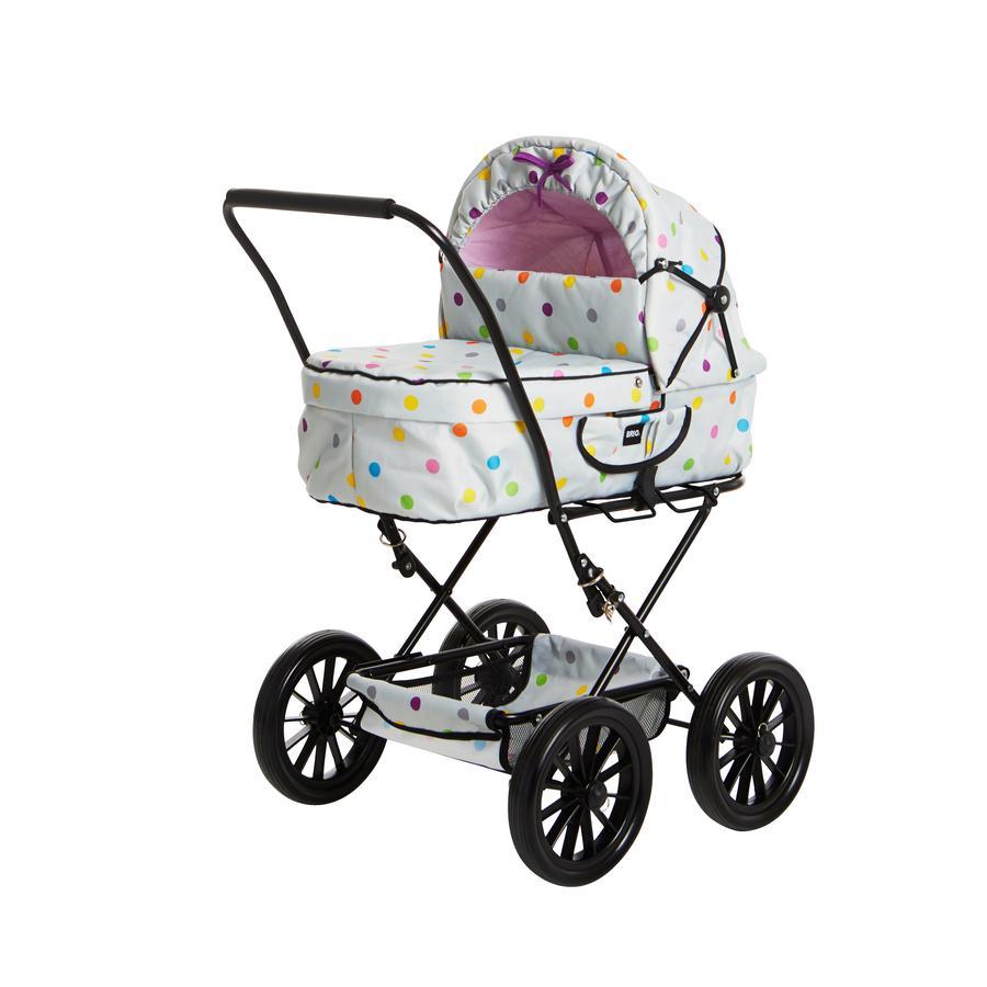 BRIO Kočárek pro panenky Klassik - šedý s puntíky