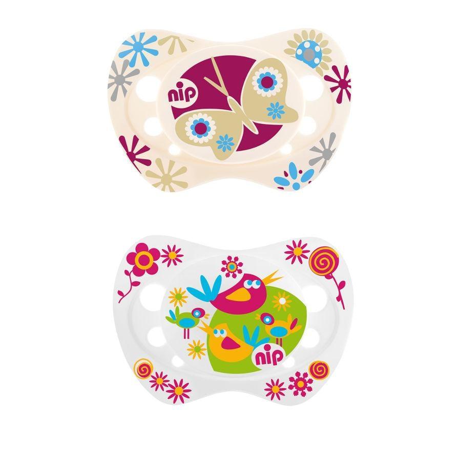 NIP Life Silikonový dudlík, ptáček + motýl, Girl 0-6 měsíců