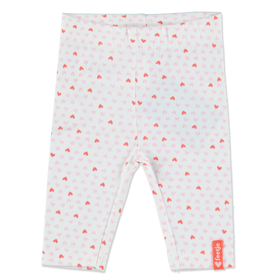 FEETJE Girls Baby Leggings HEARTS white