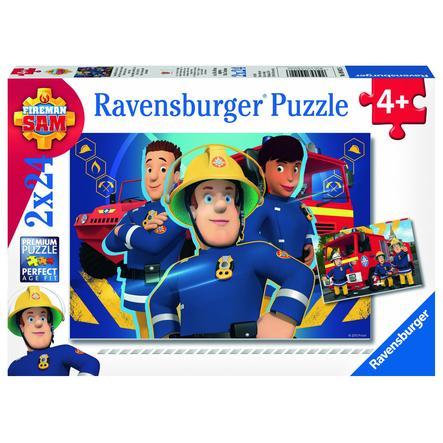 RAVENSBURGER Puzzel 2x 24 stukjes Brandweerman Sam - redder in nood