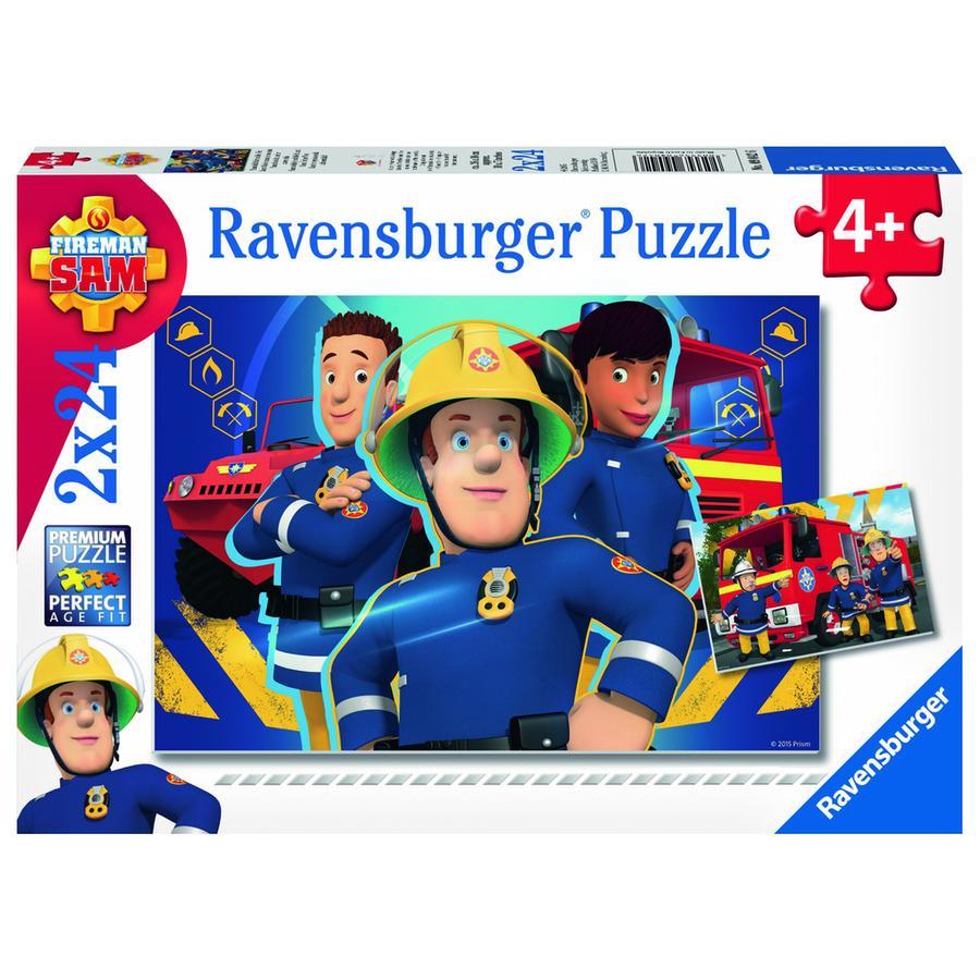 RAVENSBURGER Puzzle 2x24 dílů - Hasič Sam pomůže v nouzi