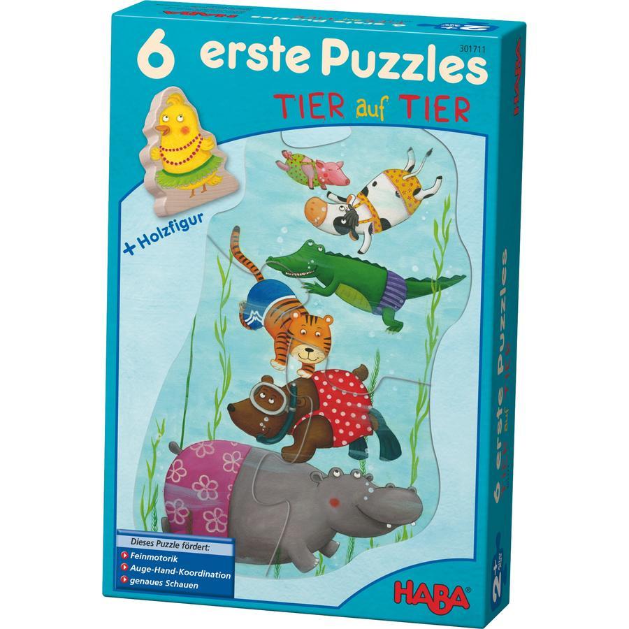 HABA 6 Puzzle - Animali + personaggio in legno