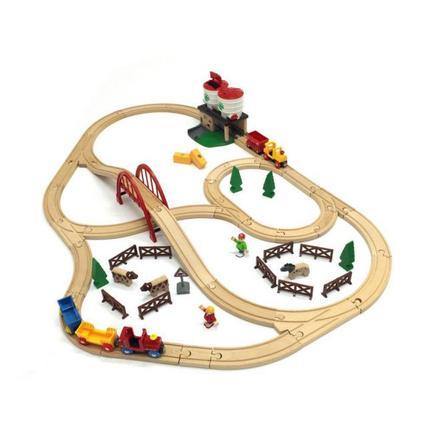 BRIO Bahn - Großes Countryside Set mit Silo und mit Aufbewahrungsbox, 60 Teile