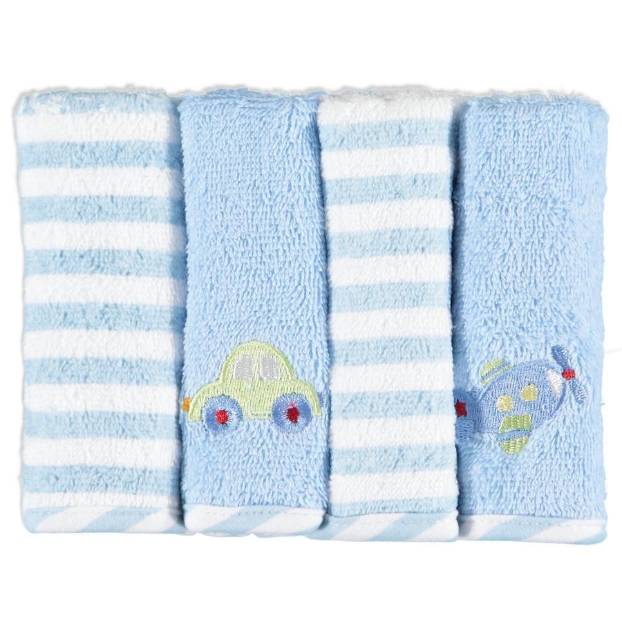 PINK OR BLUE Dregellappar Flanell 4-pack blå