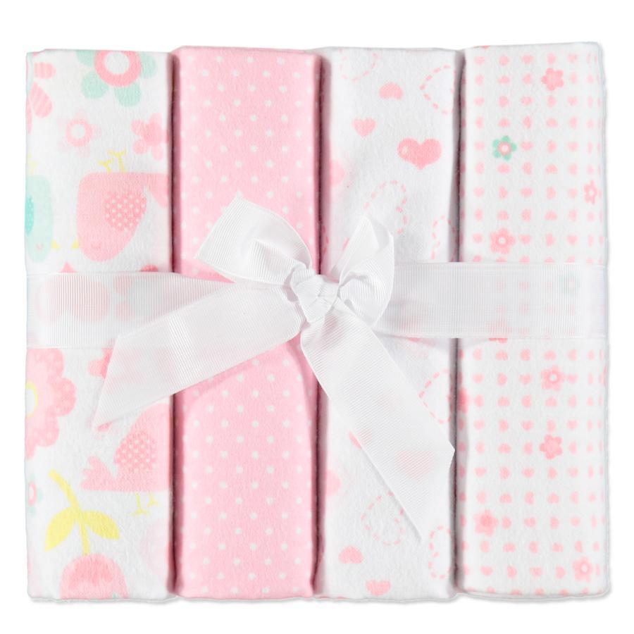 Pink or Blue Spuugdoeken flanel 4 stuks roze