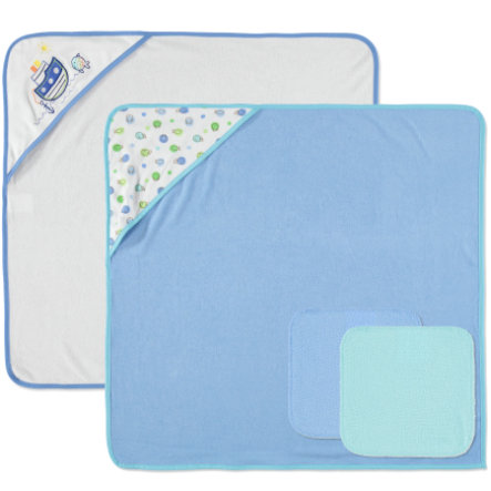 PINK OR BLUE Waschset 4 tlg blau