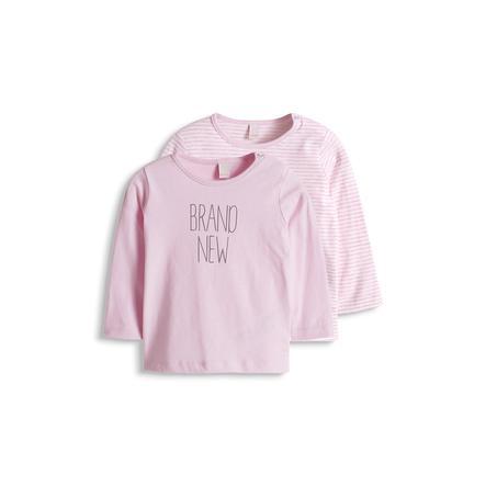 ESPRIT Girl s Newborn Set de 2 paquetes dobles de manga larga rosa