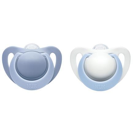 NUK Sucette Genius, silicone, T. 0, 0-2 mois, bleu, 2 pièces