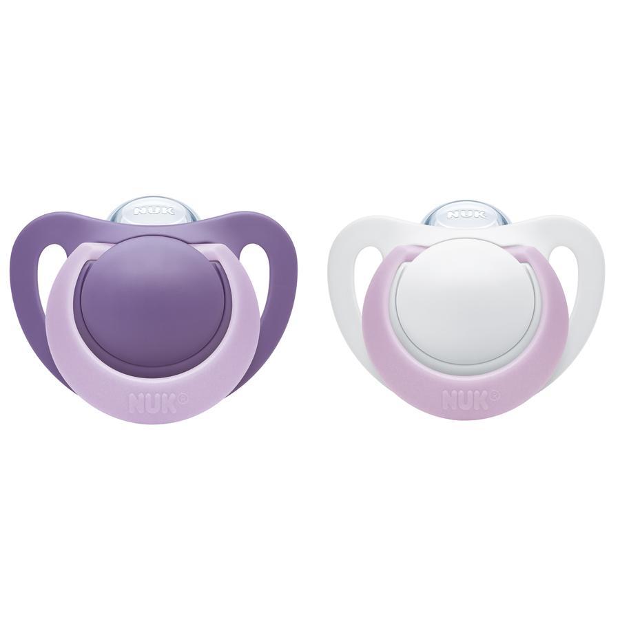 NUK Napp Silikon Genius Strl. 1 0-6 månader violett/lila 2 stycken