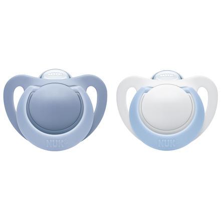 NUK Succhietto calmante Genius in silicone Misura 3 blu 2 pezzi 18-36 mesi