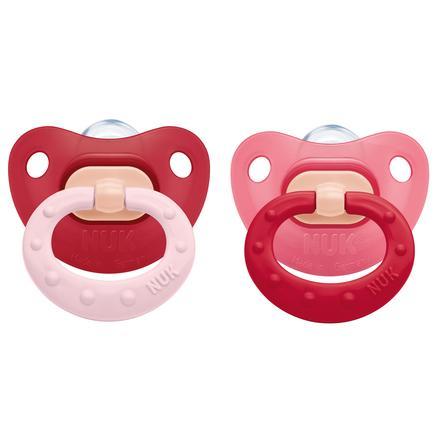 NUK Sucette Fashion, silicone, T. 3, 18-36 mois, rouge/rose, 2 pièces