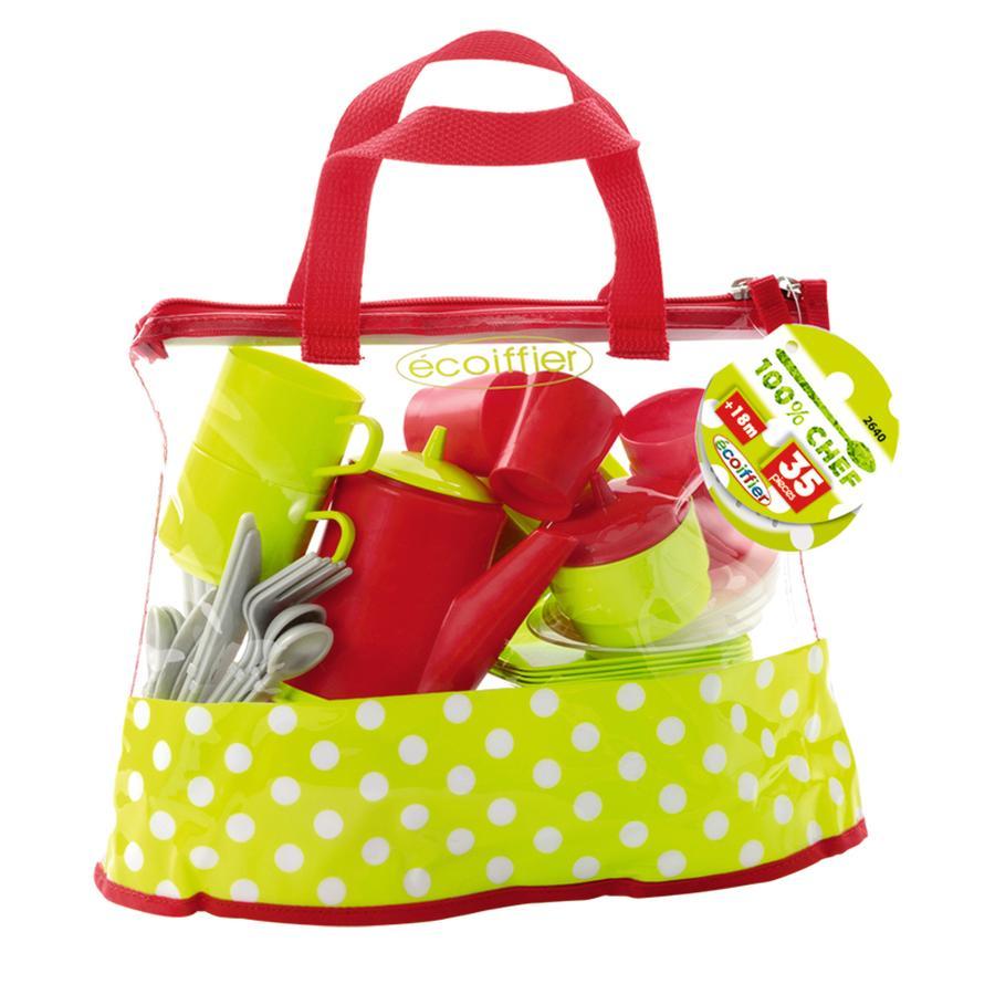 ECOIFFIER Set stoviglie con borsa per il trasporto