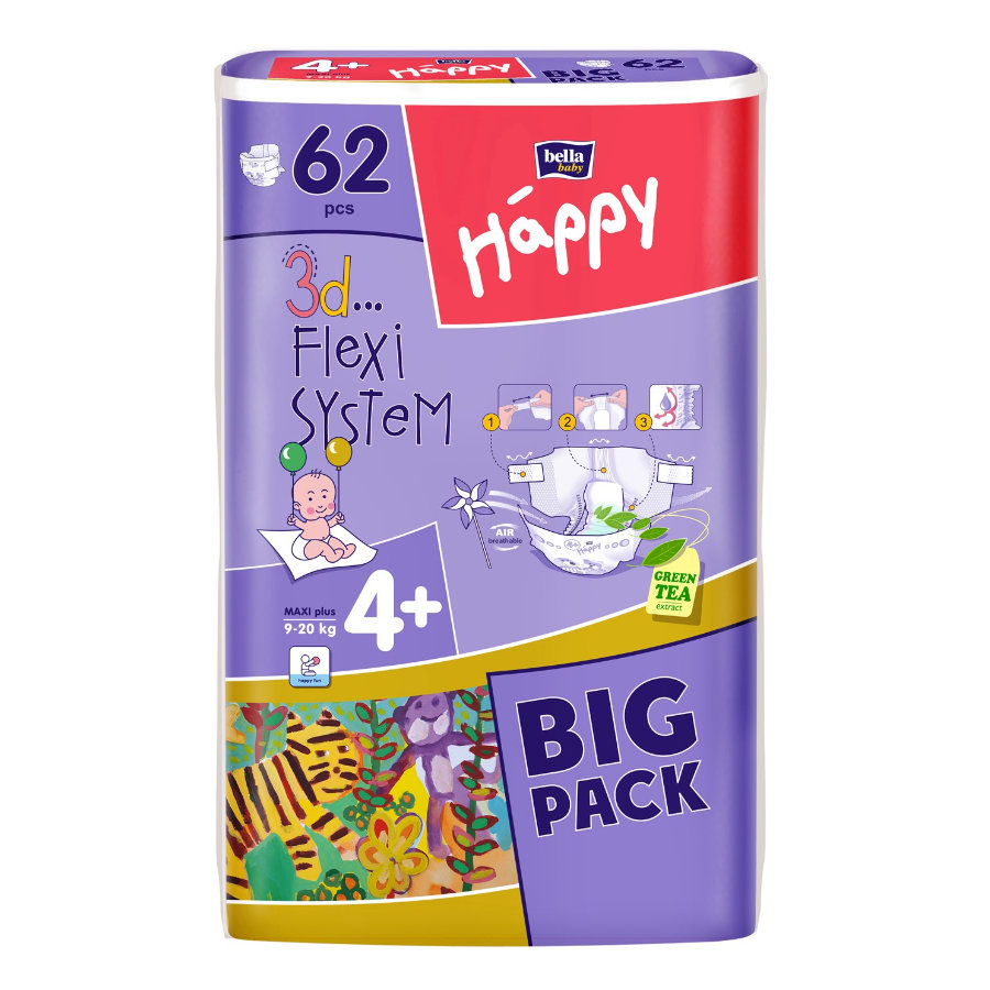 Bella Happy Maxi Plus vel. 4+ dětské pleny (9-20 kg) 62 kusů
