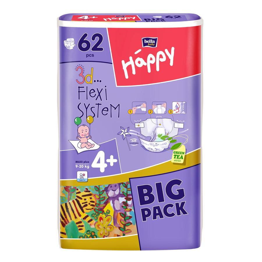 BELLA Happy Vaipat Maxi Plus, koko 4+ (9-20 kg), 62 kpl