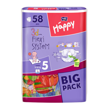 bella baby Happy Windeln Junior Gr. 5 (12 -25 kg) Big Pack 58 Stück