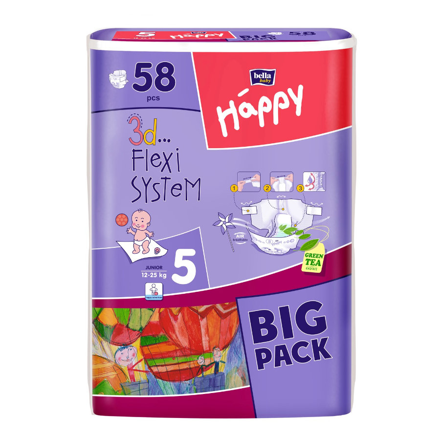 BELLA Happy Junior Size 5 Nappies (12-25 kg) Pack of 58