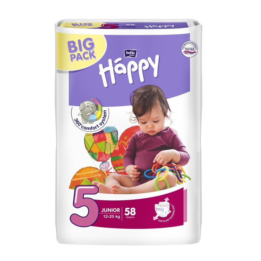 Bella Happy Junior vel. 5 dětské pleny (12-25 kg) 58 kusů