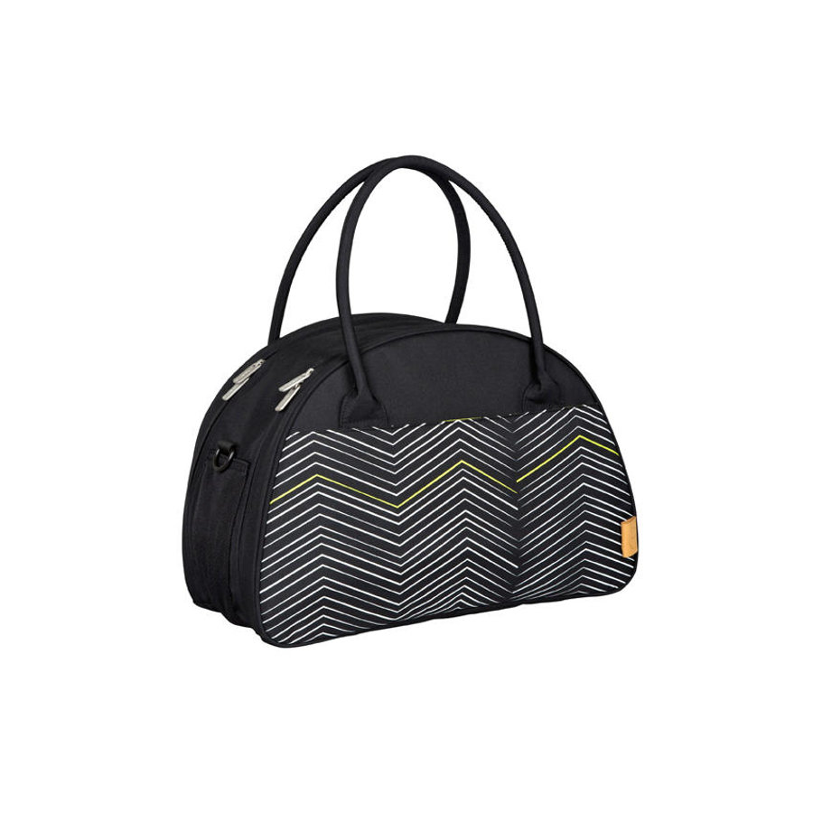 LÄSSIG Nappy Bag Casual Shoulder Bag Zigzag black & white