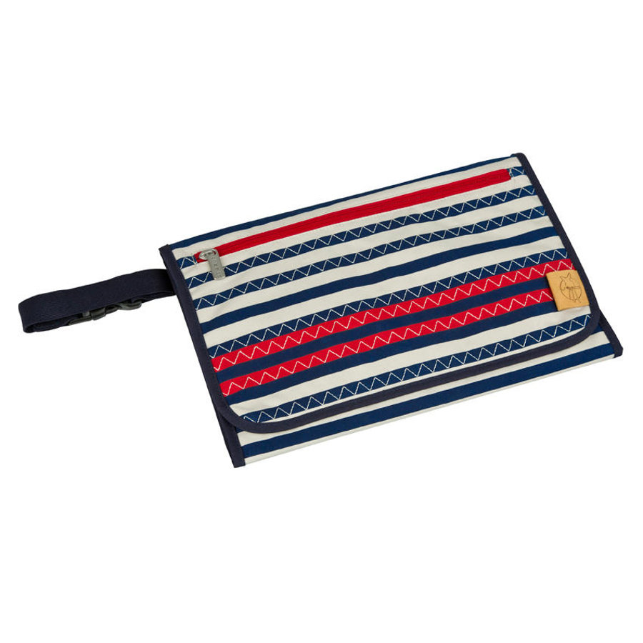 LÄSSIG Sac à langer Casual Wrap to Go Striped Zigzag, bleu marine