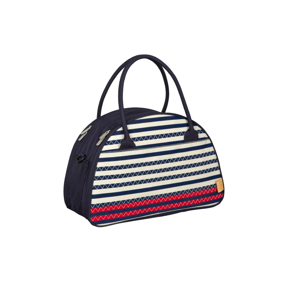 LÄSSIG Nappy Bag Casual Shoulder Bag Striped Zigzag navy