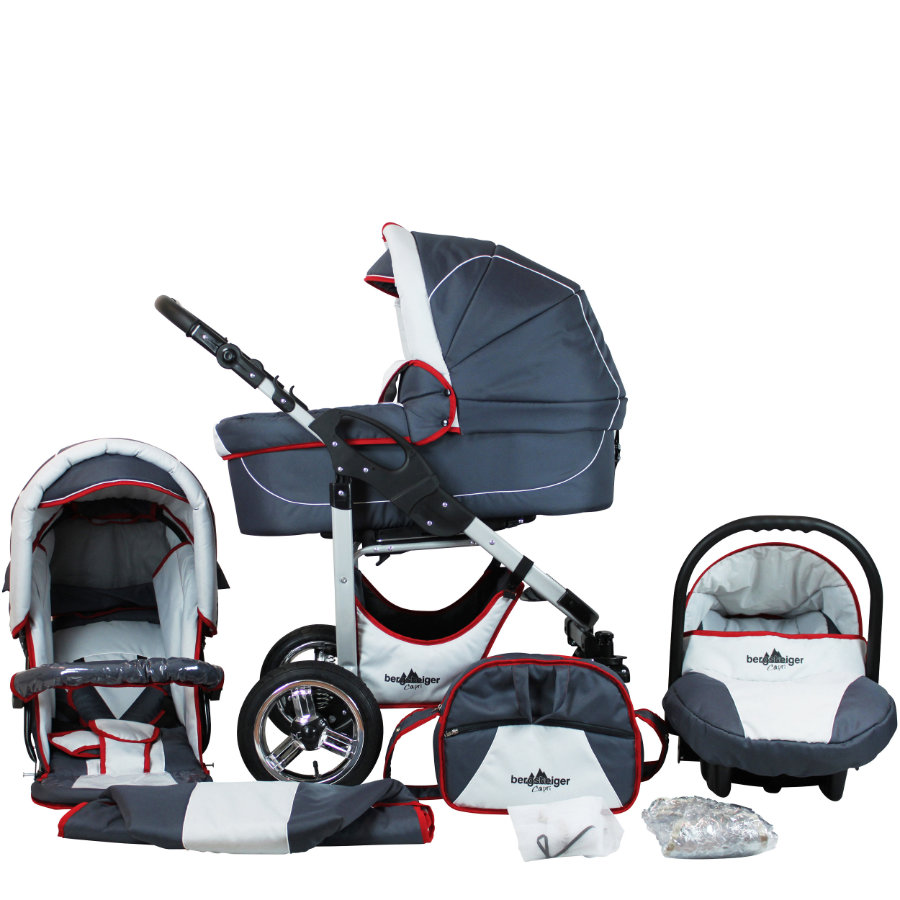 bergsteiger Combi-Kinderwagen Capri grey & red stripes